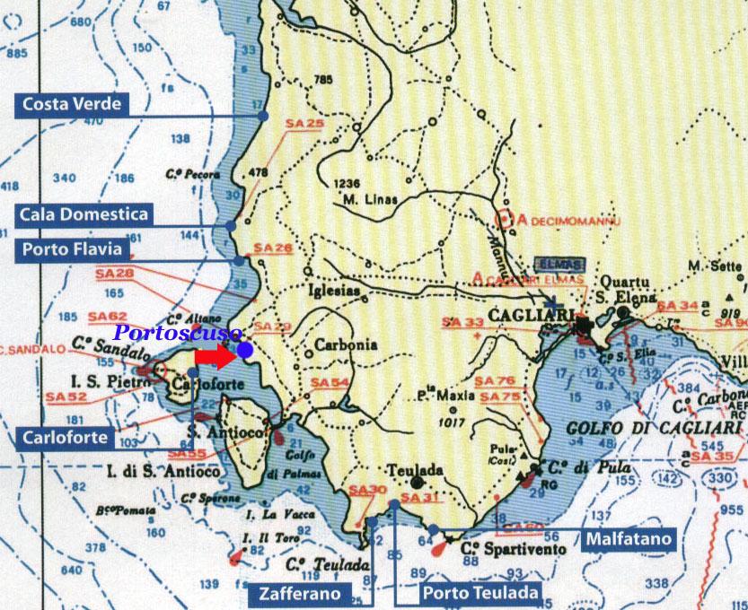 Cartina Sardegna Sud Ovest.Escursioni Sailing Sud Sardegna